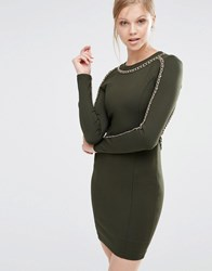 Forever Unique Etta Long Sleeve Bodycon Dress With Chain Detail Khaki Green