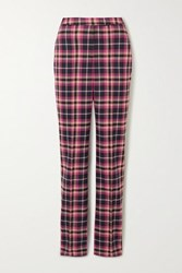 Rebecca Vallance Ryder Checked Twill Straight Leg Pants Magenta