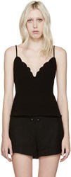 Carven Black Scalloped Tank Top