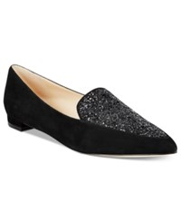 Nine West Abay Pointed Toe Flats Women's Shoes Black Suede Black Glitter