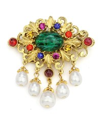 Ben Amun Multicolor Crystal And Pearly Brooch Gold