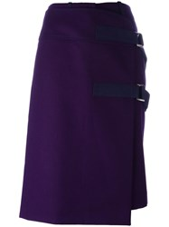 Sacai Apron Midi Wrap Skirt Pink Purple