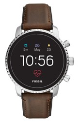 Fossil Q Explorist Hr Leather Strap Smart Watch 45Mm Brown Silver
