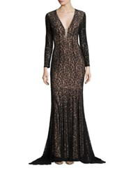 Jovani Lace Mermaid Gown Black Nude