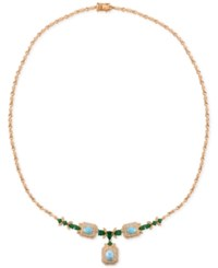 Le Vian Opal 1 3 8 Ct. T.W. Diamond 7 8 Ct. T.W. And Chrome Diopside 1 9 10 Ct. T.W. Fancy Collar Necklace In 14K Rose Gold