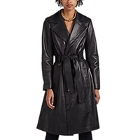 A.L.C. Bennett Leather Trench Coat Black