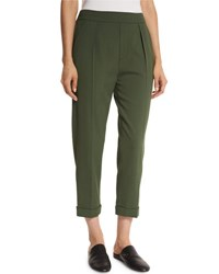 Vince Pull On Tapered Cropped Trousers Green