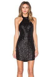 Reverse Geo Sequin Halter Dress Black