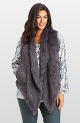 Mynt 1792 Genuine Rabbit Fur Vest Plus Size Grey