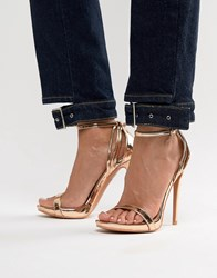 Lost Ink Rose Gold Stiletto Barely There Sandals Rose Gold