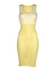 Knit Knit Knee Length Dresses Yellow