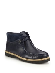 Saks Fifth Avenue Suede Trimmed Leather Desert Boots Navy