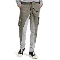 Greg Lauren Cotton Canvas And French Terry Trousers Green