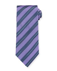 Eton Striped Silk Tie Purple