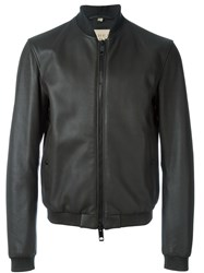 Burberry Brit Leather Bomber Jacket Grey