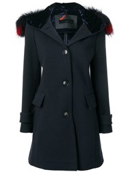 Rrd Fur Trim Hooded Coat Blue