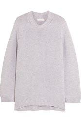 Chinti And Parker Zip Detailed Cashmere Sweater Light Gray