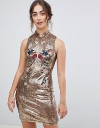 Hope And Ivy Sleeveless Sequin Mini Dress With Chinoisery Embroidery In Gold