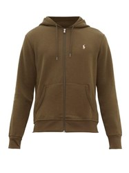 Polo Ralph Lauren Logo Embroidered Zip Through Hooded Sweatshirt Khaki