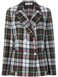 Barena Checked Double Breasted Blazer Cotton Polyester Acetate Wool