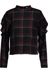 Suno Ruffled Plaid Wool And Silk Blend Top Multi