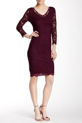 Marina 3 4 Length Sleeve Stretch Lace V Neck Dress Purple
