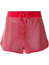 Juicy Couture Swarovski Embellished Velour Shorts Red