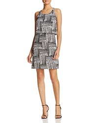 Design History Tribal Print Overlay Dress Black White