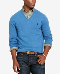 Polo Ralph Lauren Men's Merino Wool V Neck Sweater Night Blue