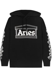 Aries 2 Chains Printed Cotton Jersey Hoodie Black