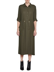 French Connection Cecil Long Draped Shirt Dress Woodland Green