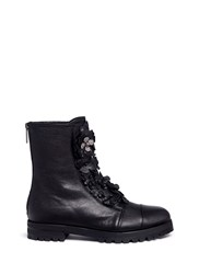 Jimmy Choo 'Havana' Embellished Floral Applique Combat Boots Black