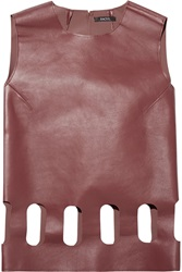 Raoul Elisa Cutout Leather Top Red