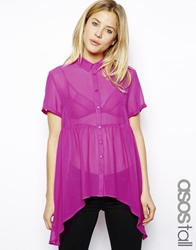 Asos Tall Smock Blouse With Short Sleeve Pink