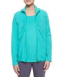 Neon Buddha Weekend Ruched Zip Front Jacket Flirty Aqua