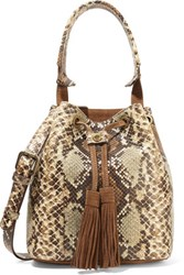 Sandro Suede And Snake Effect Leather Bucket Bag Snake Print