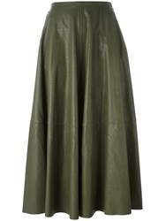 Maison Martin Margiela Mm6 Leather Effect Maxi Skirt Green