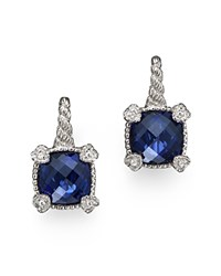 Judith Ripka Sterling Silver Small Cushion Stone Earring With 4 Hearts In Lab Created Blue Corundum With White Sapphires Blue Silver