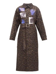 Raf Simons Animalier Leopard Print Belted Technical Coat Leopard
