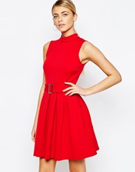 Love High Neck Mini Dress With Belt Red