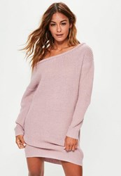Missguided Purple Off Shoulder Knit Sweater Dress Lilac