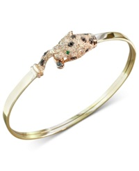 Effy Collection Effy Signature White And Black Diamond 5 8 Ct. T.W. And Emerald Accent Panther Bracelet In 14K Gold And Rose Gold