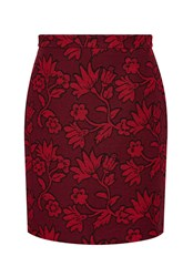 Hallhuber High Waist Skirt Made Of Floral Jacquard Multi Coloured