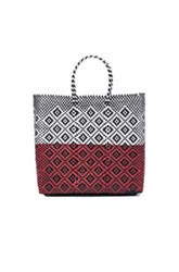 Truss Medium Triptych Tote In White Checkered And Plaid Black Red