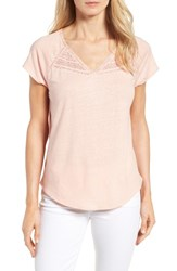 Nydj Women's Lace Trim Linen Blend Tee