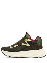 Elena Iachi 50Mm Suede And Leather Sneakers Olive Green