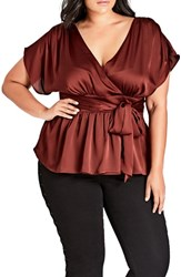 City Chic Plus Size Tangled Faux Wrap Top Port