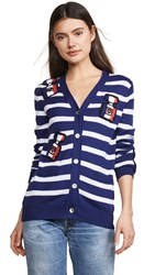 Michaela Buerger Striped I Love Paris Cardigan Navy White Multi
