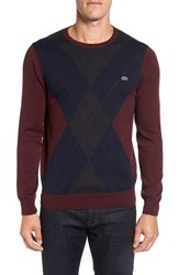 Lacoste Men's Argyle Front Crewneck Sweater Carthusian Chine Grey Blue