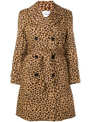 Dondup Leopard Print Trench Coat Brown